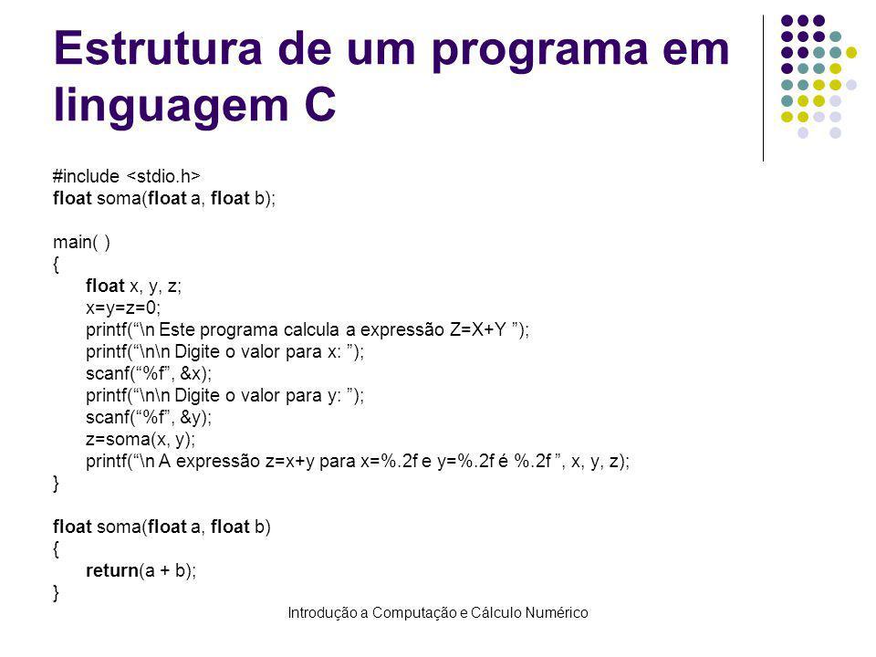 Introdução a Computação e Cálculo Numérico Estrutura de um programa em linguagem C #include float soma(float a, float b); main( ) { float x, y, z; x=y=z=0; printf(\n Este programa calcula a expressão Z=X+Y ); printf(\n\n Digite o valor para x: ); scanf(%f, &x); printf(\n\n Digite o valor para y: ); scanf(%f, &y); z=soma(x, y); printf(\n A expressão z=x+y para x=%.2f e y=%.2f é %.2f, x, y, z); } float soma(float a, float b) { return(a + b); }