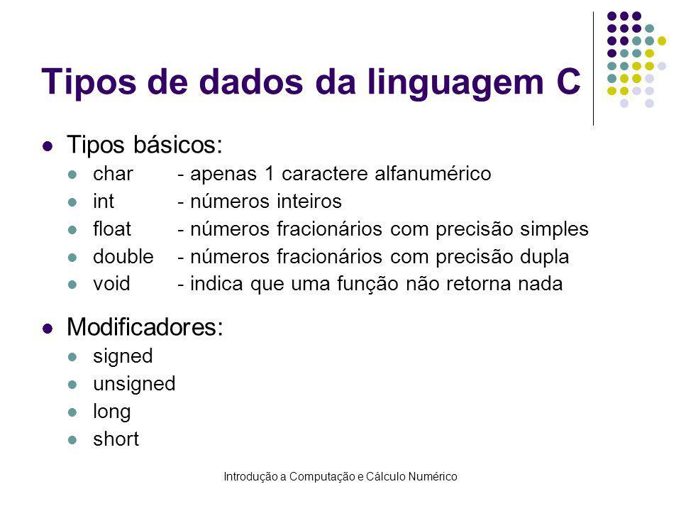Introdução a Computação e Cálculo Numérico Tipos de dados da linguagem C Tipos básicos: char- apenas 1 caractere alfanumérico int- números inteiros fl