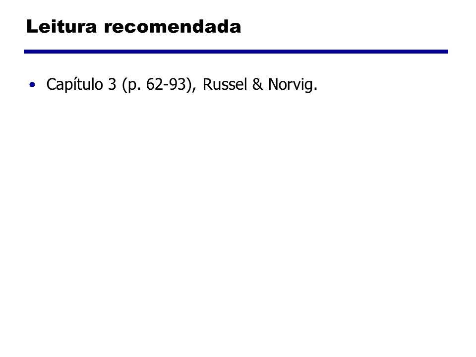 Leitura recomendada Capítulo 3 (p. 62-93), Russel & Norvig.