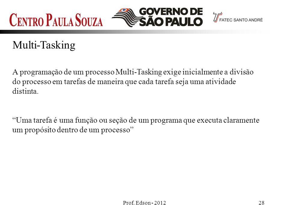 Prof. Edson - 201228 Multi-Tasking A programação de um processo Multi-Tasking exige inicialmente a divisão do processo em tarefas de maneira que cada