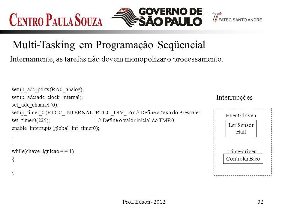 Prof. Edson - 201232 Multi-Tasking em Programação Seqüencial Internamente, as tarefas não devem monopolizar o processamento. Ler Sensor Hall Controlar