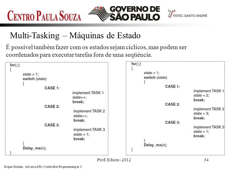 Prof. Edson - 201234 Multi-Tasking – Máquinas de Estado É possível também fazer com os estados sejam cíclicos, mas podem ser coordenados para executar