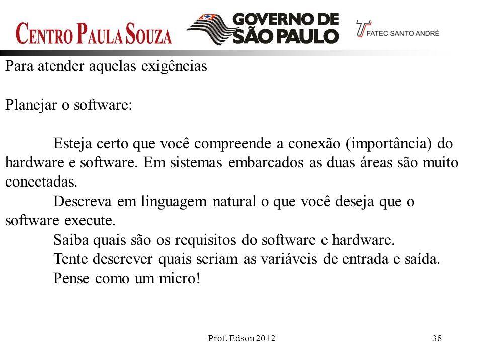 Prof. Edson 201238 Para atender aquelas exigências Planejar o software: Esteja certo que você compreende a conexão (importância) do hardware e softwar
