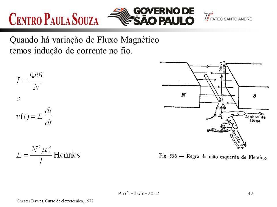 Quando há variação de Fluxo Magnético temos indução de corrente no fio. Prof. Edson - 201242 Chester Dawes, Curso de eletrotécnica, 1972