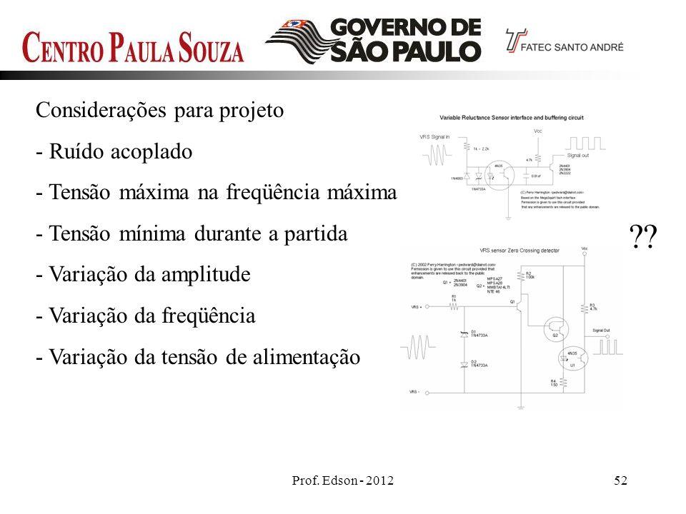 Prof. Edson - 201252 Considerações para projeto - Ruído acoplado - Tensão máxima na freqüência máxima - Tensão mínima durante a partida - Variação da