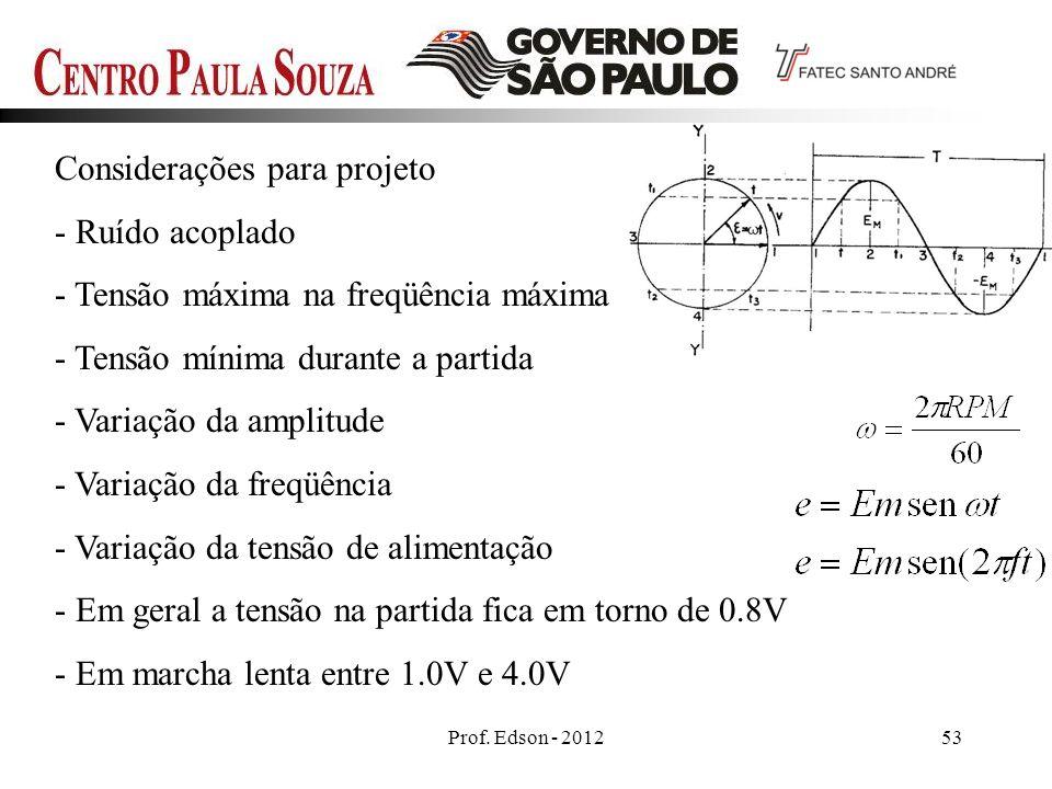 Prof. Edson - 201253 Considerações para projeto - Ruído acoplado - Tensão máxima na freqüência máxima - Tensão mínima durante a partida - Variação da