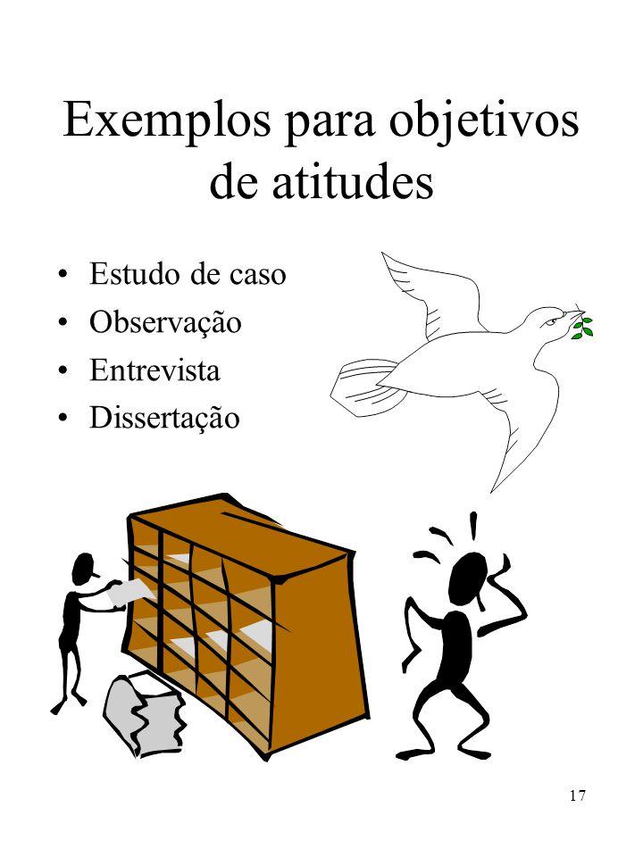 17 Exemplos para objetivos de atitudes Estudo de caso Observação Entrevista Dissertação