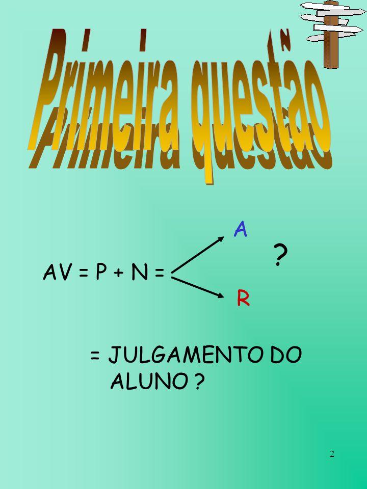 2 AV = P + N = A R = JULGAMENTO DO ALUNO