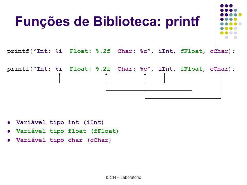 ICCN – Laboratório Funções de Biblioteca: printf Exemplos: printf( ); printf(Olá Mundo!); printf(, ); printf(Resultado: %f, fResultado); printf(,, ); printf(Valor 1: %i \n Valor 2: %i, iNum1, iNum2);