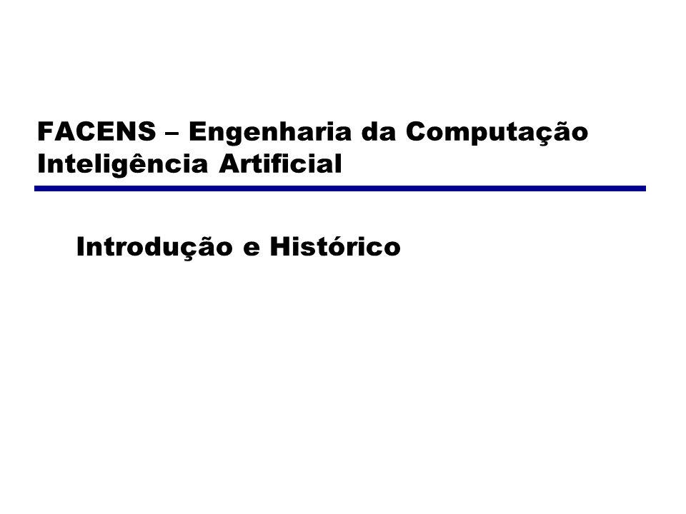 FACENS – Engenharia da Computação Inteligência Artificial Introdução e Histórico