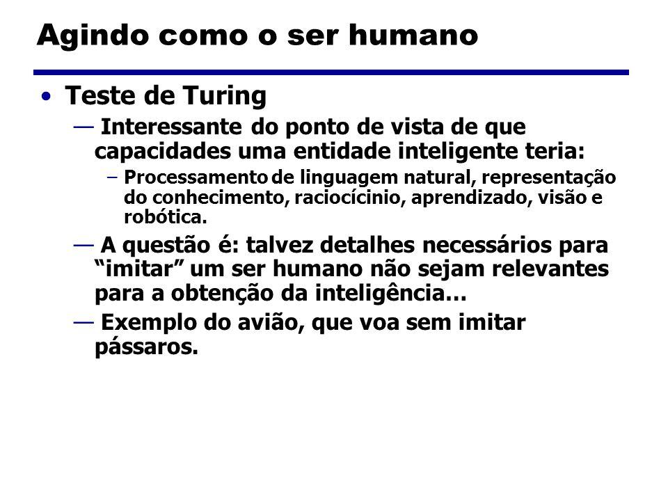 Agindo como o ser humano Teste de Turing Interessante do ponto de vista de que capacidades uma entidade inteligente teria: –Processamento de linguagem