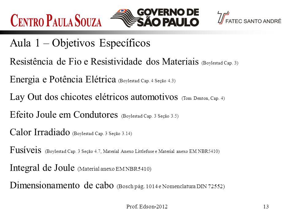 Prof. Edson-201213 Aula 1 – Objetivos Específicos Resistência de Fio e Resistividade dos Materiais (Boylestad Cap. 3) Energia e Potência Elétrica (Boy