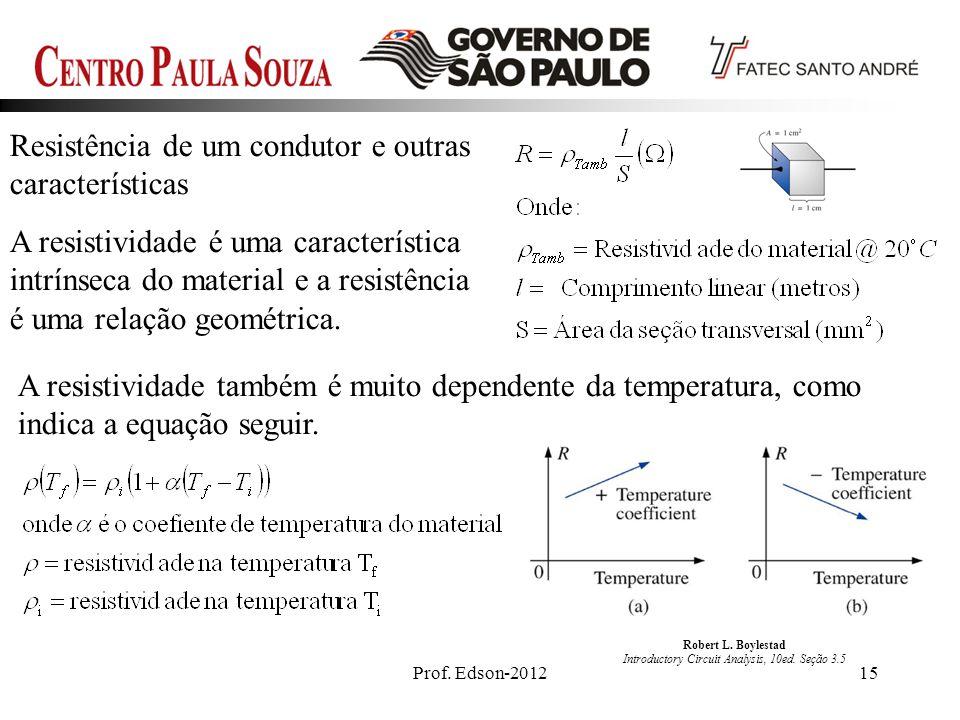 Prof. Edson-201215 Resistência de um condutor e outras características A resistividade é uma característica intrínseca do material e a resistência é u