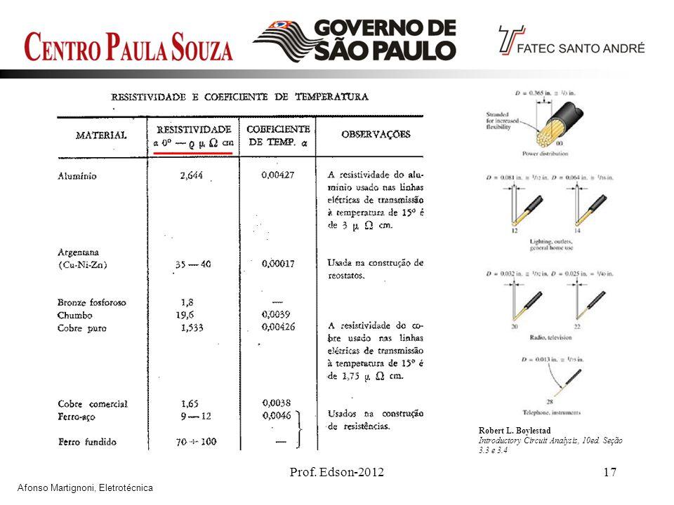Prof. Edson-201217 Robert L. Boylestad Introductory Circuit Analysis, 10ed. Seção 3.3 e 3.4 Afonso Martignoni, Eletrotécnica
