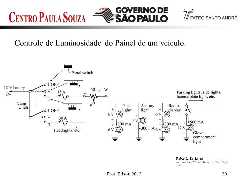 Prof. Edson-201220 Controle de Luminosidade do Painel de um veículo. Robert L. Boylestad Introductory Circuit Analysis, 10ed. Seção 3.14