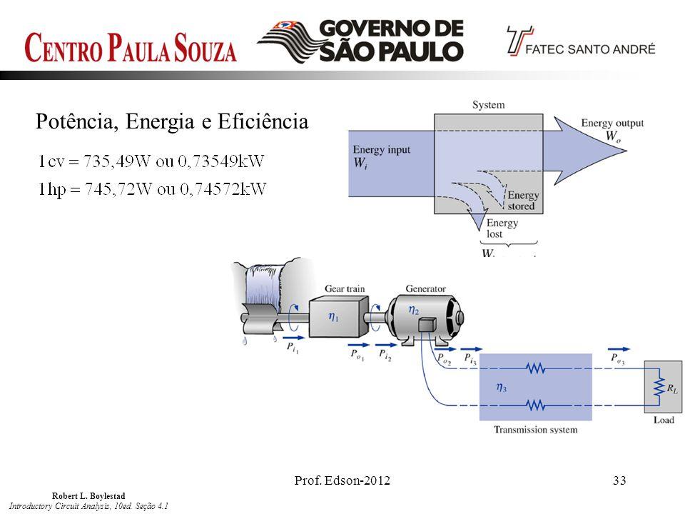 Prof. Edson-201233 Potência, Energia e Eficiência Robert L. Boylestad Introductory Circuit Analysis, 10ed. Seção 4.1
