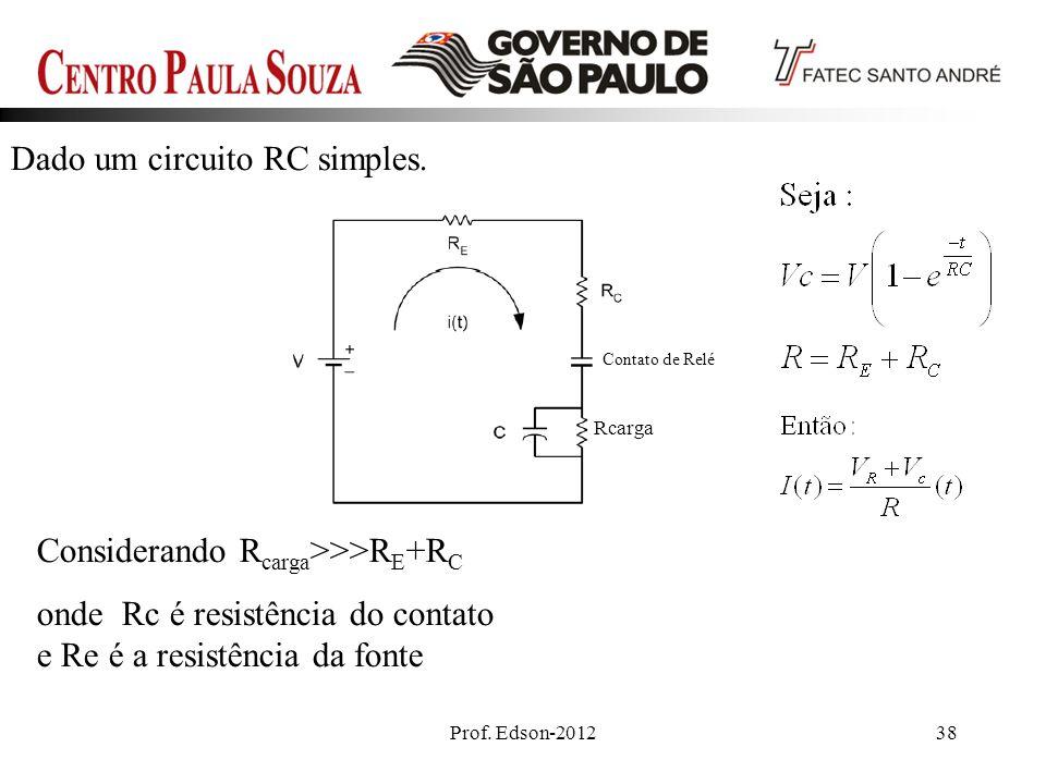Prof. Edson-201238 Dado um circuito RC simples. Contato de Relé Rcarga Considerando R carga >>>R E +R C onde Rc é resistência do contato e Re é a resi