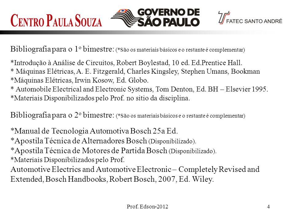 Prof. Edson-20124 Bibliografia para o 1 o bimestre: (*São os materiais básicos e o restante é complementar) *Introdução à Análise de Circuitos, Robert