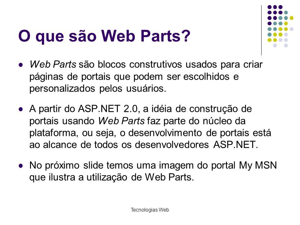 Tecnologias Web O que são Web Parts.