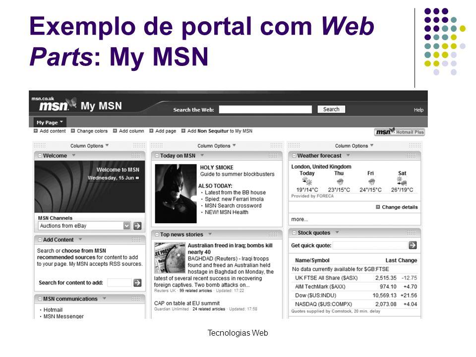Tecnologias Web Exemplo de portal com Web Parts: My MSN