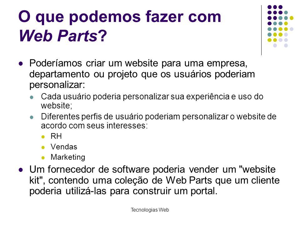Tecnologias Web O que podemos fazer com Web Parts.