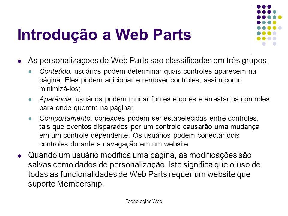 Tecnologias Web Introdução a Web Parts As personalizações de Web Parts são classificadas em três grupos: Conteúdo: usuários podem determinar quais controles aparecem na página.