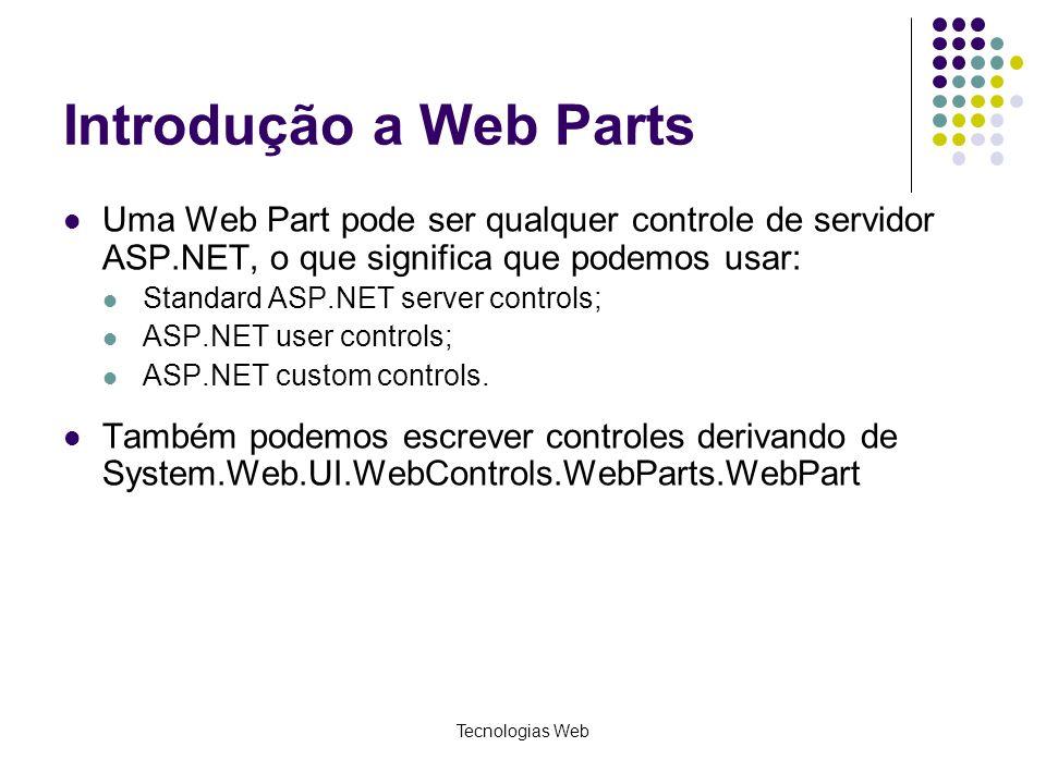 Tecnologias Web Introdução a Web Parts Uma Web Part pode ser qualquer controle de servidor ASP.NET, o que significa que podemos usar: Standard ASP.NET server controls; ASP.NET user controls; ASP.NET custom controls.