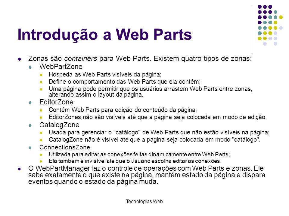 Tecnologias Web Introdução a Web Parts Zonas são containers para Web Parts.