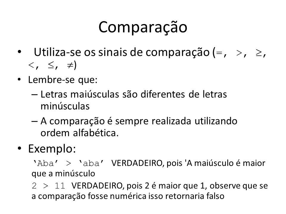 Comparação Utiliza-se os sinais de comparação ( =, >,, <,, ) Lembre-se que: – Letras maiúsculas são diferentes de letras minúsculas – A comparação é s