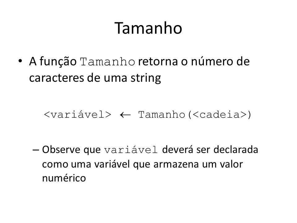 Tamanho A função Tamanho retorna o número de caracteres de uma string Tamanho( ) – Observe que variável deverá ser declarada como uma variável que arm