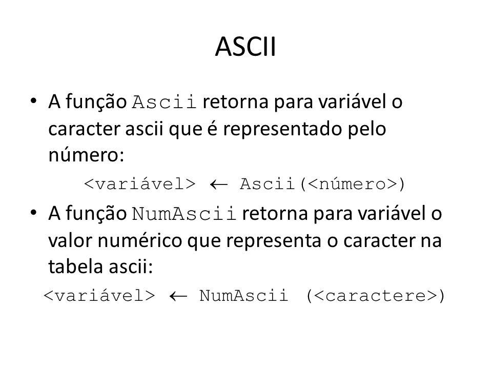 ASCII A função Ascii retorna para variável o caracter ascii que é representado pelo número: Ascii( ) A função NumAscii retorna para variável o valor n