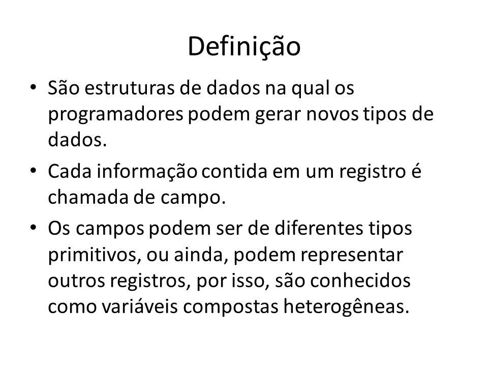 Definição São estruturas de dados na qual os programadores podem gerar novos tipos de dados. Cada informação contida em um registro é chamada de campo