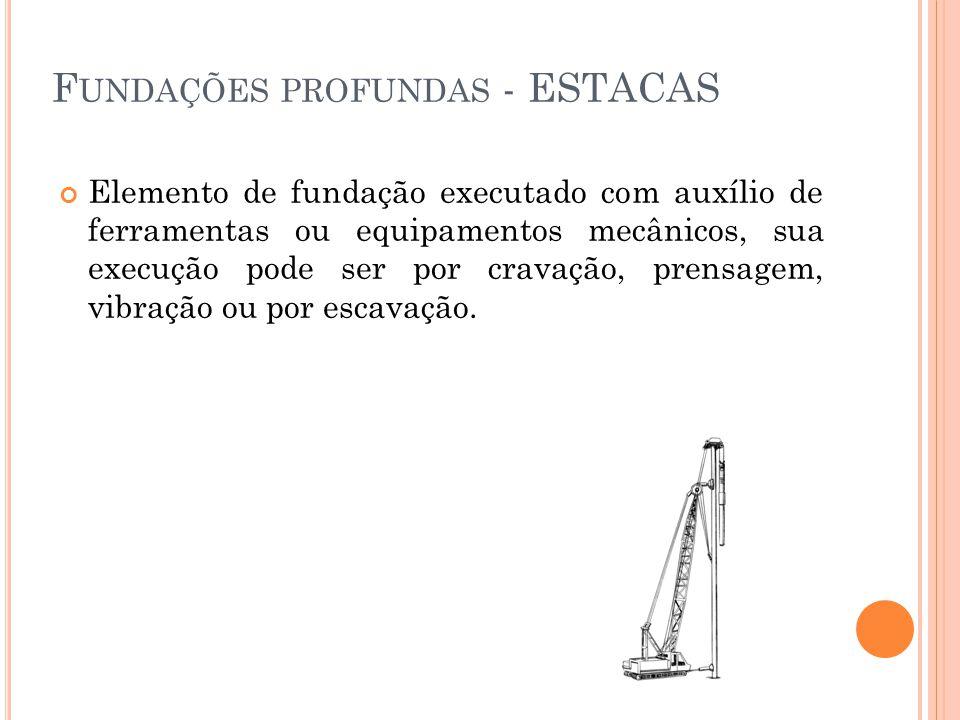 Elemento de fundação executado com auxílio de ferramentas ou equipamentos mecânicos, sua execução pode ser por cravação, prensagem, vibração ou por es