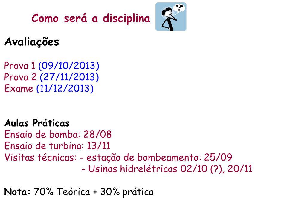 Como será a disciplina Avaliações Prova 1 (09/10/2013) Prova 2 (27/11/2013) Exame (11/12/2013) Aulas Práticas Ensaio de bomba: 28/08 Ensaio de turbina