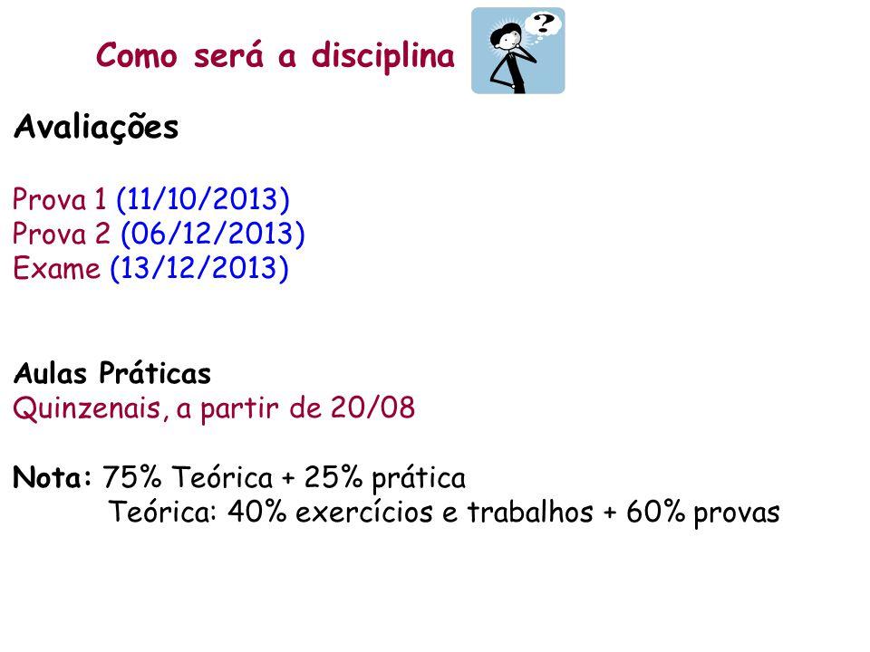 Como será a disciplina Avaliações Prova 1 (11/10/2013) Prova 2 (06/12/2013) Exame (13/12/2013) Aulas Práticas Quinzenais, a partir de 20/08 Nota: 75%