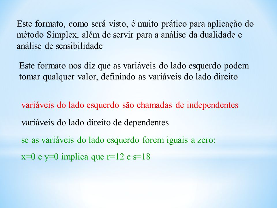 Este formato, como será visto, é muito prático para aplicação do método Simplex, além de servir para a análise da dualidade e análise de sensibilidade