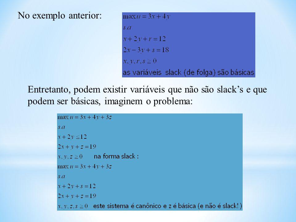 No exemplo anterior: Entretanto, podem existir variáveis que não são slacks e que podem ser básicas, imaginem o problema: