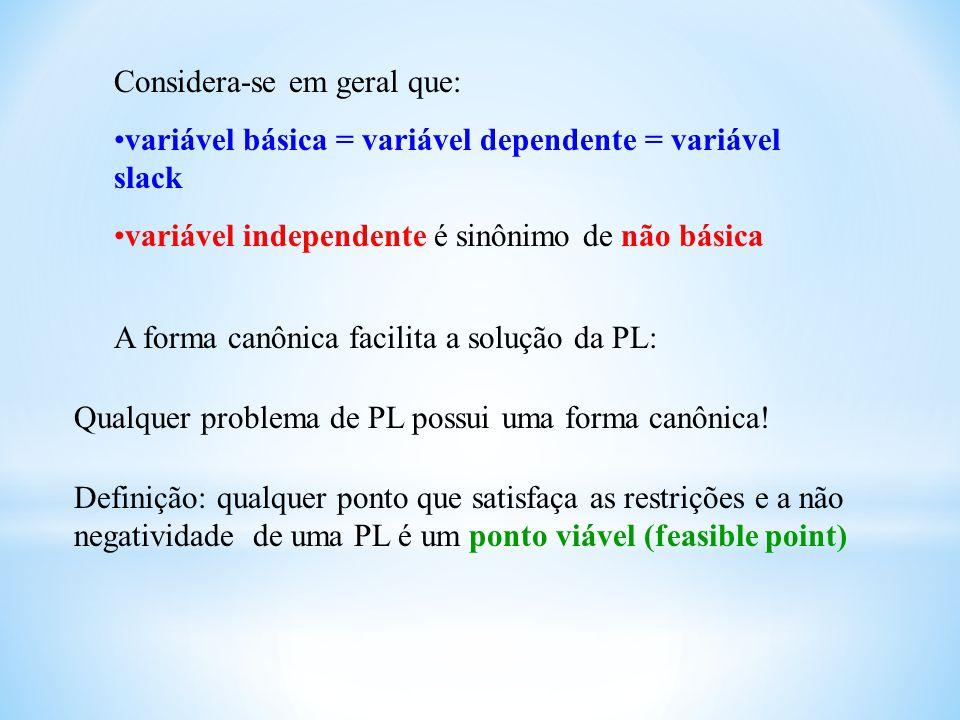 Considera-se em geral que: variável básica = variável dependente = variável slack variável independente é sinônimo de não básica A forma canônica faci