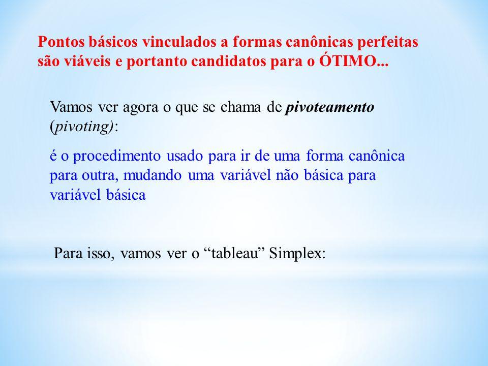 Pontos básicos vinculados a formas canônicas perfeitas são viáveis e portanto candidatos para o ÓTIMO... Vamos ver agora o que se chama de pivoteament