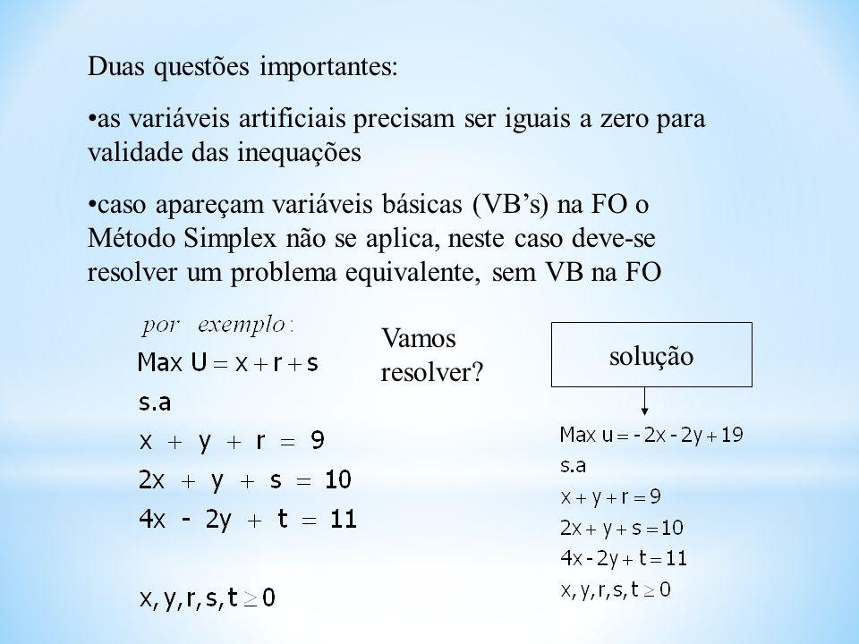 Duas questões importantes: as variáveis artificiais precisam ser iguais a zero para validade das inequações caso apareçam variáveis básicas (VBs) na F