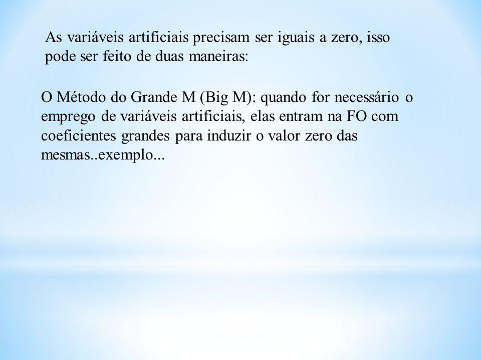As variáveis artificiais precisam ser iguais a zero, isso pode ser feito de duas maneiras: O Método do Grande M (Big M): quando for necessário o empre