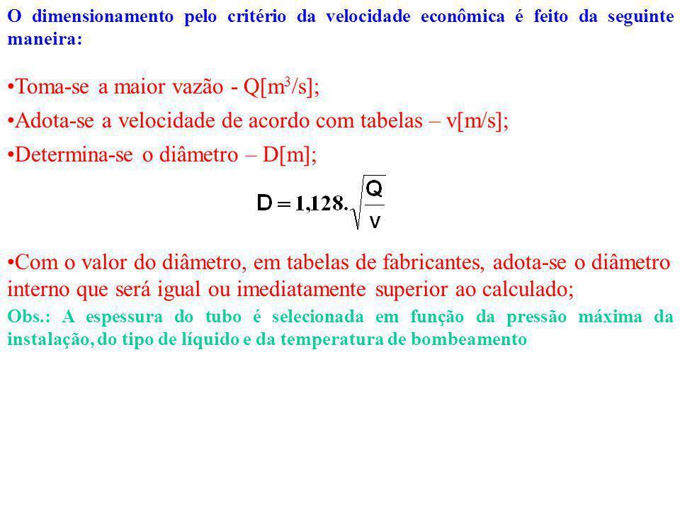 O dimensionamento pelo critério da velocidade econômica é feito da seguinte maneira: Toma-se a maior vazão - Q[m 3 /s]; Adota-se a velocidade de acordo com tabelas – v[m/s]; Determina-se o diâmetro – D[m]; Com o valor do diâmetro, em tabelas de fabricantes, adota-se o diâmetro interno que será igual ou imediatamente superior ao calculado; Obs.: A espessura do tubo é selecionada em função da pressão máxima da instalação, do tipo de líquido e da temperatura de bombeamento