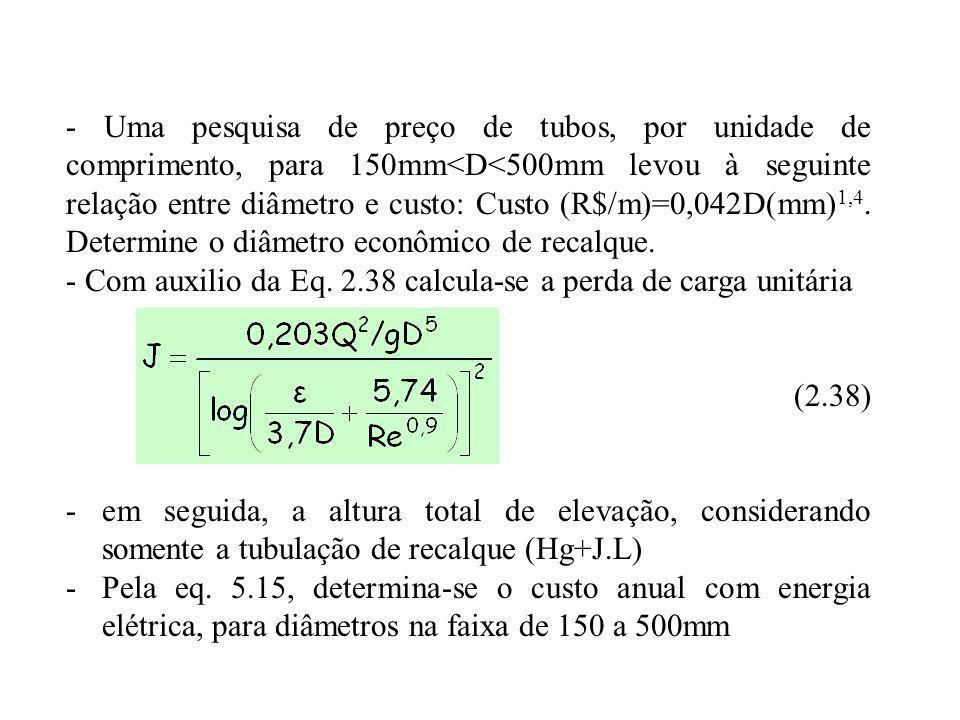 - Uma pesquisa de preço de tubos, por unidade de comprimento, para 150mm<D<500mm levou à seguinte relação entre diâmetro e custo: Custo (R$/m)=0,042D(mm) 1,4.