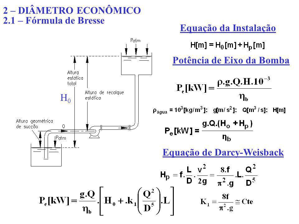 O custo total anual da instalação será: C a [$] – custo anual da instalação; C 1 [$/kW] – custo anual de operação dos equipamentos por kW instalado (amortização e manutenção); P e [kW] – potência de eixo do conjunto moto-bomba ; C[$/kW] – Despesa anual de uma tubulação de diâmetro 1[m] e comprimento 1[m] (amortização e conservação); D[m] – diâmetro da tubulação; L[m] – comprimento da tubulação.