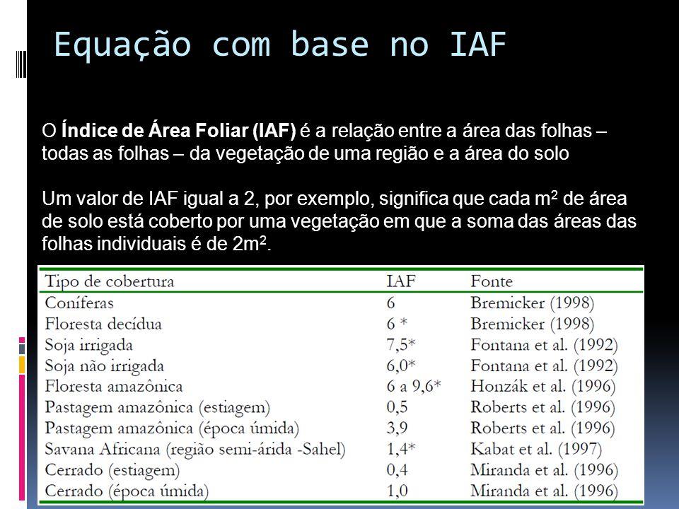 Equação com base no IAF O Índice de Área Foliar (IAF) é a relação entre a área das folhas – todas as folhas – da vegetação de uma região e a área do solo Um valor de IAF igual a 2, por exemplo, significa que cada m 2 de área de solo está coberto por uma vegetação em que a soma das áreas das folhas individuais é de 2m 2.
