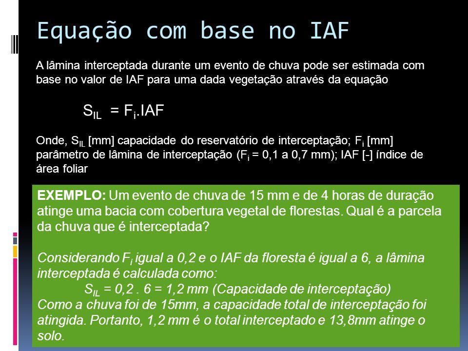 Equação com base no IAF A lâmina interceptada durante um evento de chuva pode ser estimada com base no valor de IAF para uma dada vegetação através da equação S IL = F i.IAF Onde, S IL [mm] capacidade do reservatório de interceptação; F i [mm] parâmetro de lâmina de interceptação (F i = 0,1 a 0,7 mm); IAF [-] índice de área foliar EXEMPLO: Um evento de chuva de 15 mm e de 4 horas de duração atinge uma bacia com cobertura vegetal de florestas.