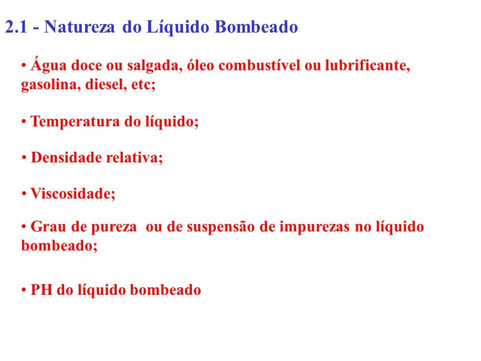 2.1 - Natureza do Líquido Bombeado Água doce ou salgada, óleo combustível ou lubrificante, gasolina, diesel, etc; Temperatura do líquido; Densidade re