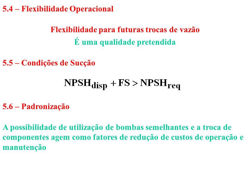 5.4 – Flexibilidade Operacional Flexibilidade para futuras trocas de vazão É uma qualidade pretendida 5.5 – Condições de Sucção 5.6 – Padronização A p