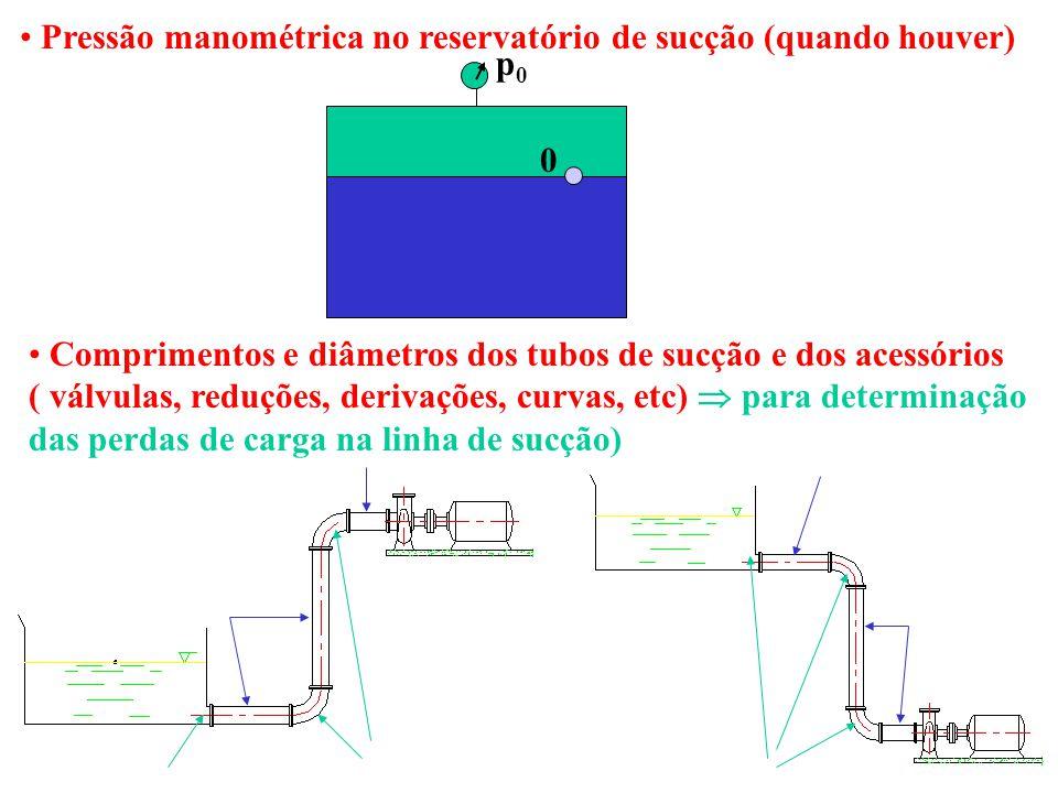 Pressão manométrica no reservatório de sucção (quando houver) Comprimentos e diâmetros dos tubos de sucção e dos acessórios ( válvulas, reduções, deri