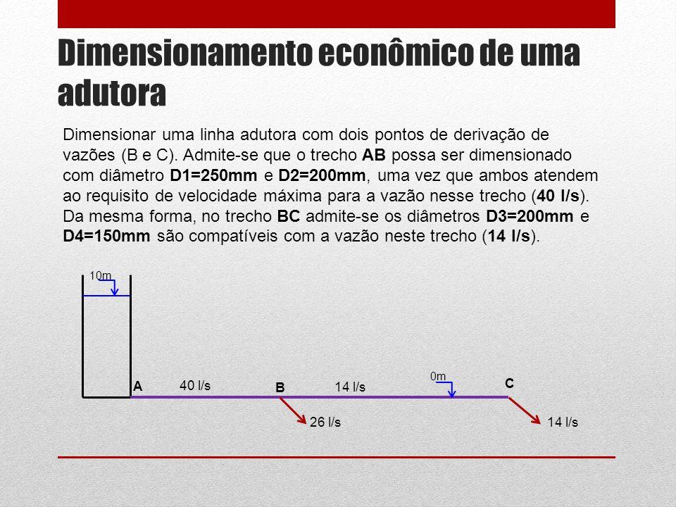 Dimensionamento econômico de uma adutora Dimensionar uma linha adutora com dois pontos de derivação de vazões (B e C). Admite-se que o trecho AB possa